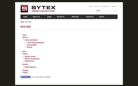 Screenshot of Site Map Page bytexgames.com - Bytex LLC. Intellectual games development and publishing. | Site map - captured Oct. 5, 2014