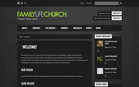 Screenshot of About Page myflc.org - Welcome! - Family Life Church - captured Feb. 9, 2016