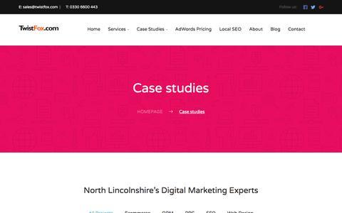 Screenshot of Case Studies Page twistfox.com - Case studies - TwistFox - captured June 17, 2017