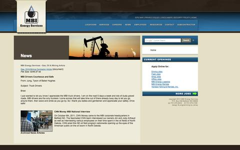Screenshot of Press Page mbienergyservices.com - MBI Energy Services - News - captured Sept. 30, 2014