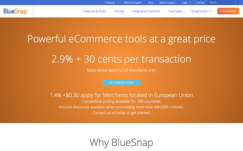 Screenshot of Pricing Page bluesnap.com - Merchant Services & Payment Gateway Pricing | BlueSnap - captured Dec. 14, 2016