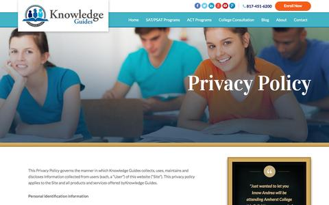 Screenshot of Privacy Page knowledgeguides.net - Privacy Policy | Knowledge Guides - captured Aug. 9, 2016