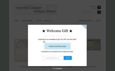 Screenshot of Maps & Directions Page victoriacooperantiqueprints.com - Maps – Victoria Cooper Antique Prints - captured Sept. 20, 2018