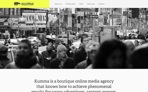 Screenshot of Home Page kumma.com - Kumma | Boutique Media Agency - captured Sept. 19, 2014