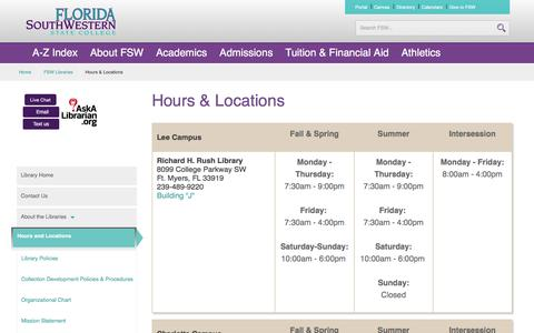 Screenshot of Hours Page fsw.edu - Hours & Locations | FSW Libraries | Florida SouthWestern State College - captured Sept. 23, 2016