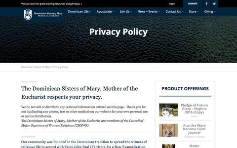 Screenshot of Privacy Page sistersofmary.org - Privacy Policy - Dominican Sisters of Mary - captured Nov. 24, 2016