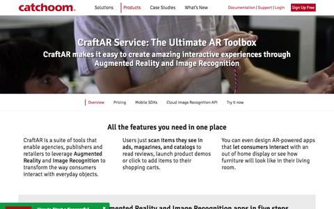 Screenshot of Products Page catchoom.com - CraftAR: Augmented Reality and Image Recognition toolbox - captured May 9, 2017