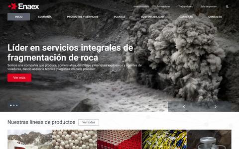 Screenshot of Home Page enaex.com - Líderes en explosivos para minería y obras civiles | ENAEX - captured Jan. 29, 2016