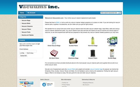 Screenshot of Home Page vacuumsinc.com - Vacuum Bags, Filters, Belts and Vacuum Cleaners at VacuumsInc.com - captured June 15, 2016
