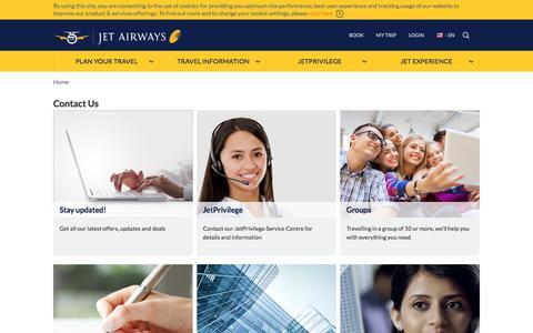 Screenshot of Contact Page jetairways.com - Contact Jet Airways and JetPrivilege - captured Sept. 20, 2018