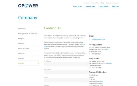 Screenshot of Contact Page opower.com - Contact | Opower - captured July 20, 2014