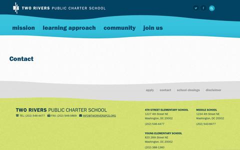 Screenshot of Contact Page tworiverspcs.org - Contact - Two Rivers Public Charter School - captured Oct. 19, 2018