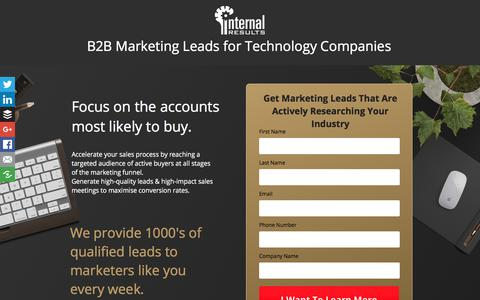 Screenshot of Landing Page internalresults.com - Marketing Leads for IT Companies - captured April 13, 2018