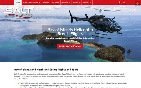 Screenshot of Home Page saltair.co.nz - Bay of Islands Helicopter & Aeroplane Scenic Flights, Northland NZ - captured Dec. 20, 2015