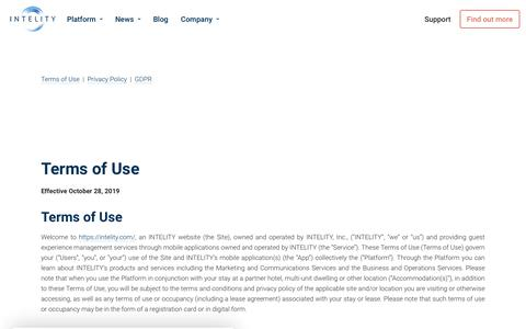 Screenshot of Terms Page intelity.com - Terms of Use | INTELITY - captured Nov. 10, 2019