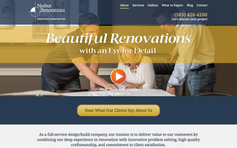 Screenshot of About Page norbutconstruction.com - Home Renovations Contractor Rochester NY | Norbut Renovations - captured Feb. 16, 2016