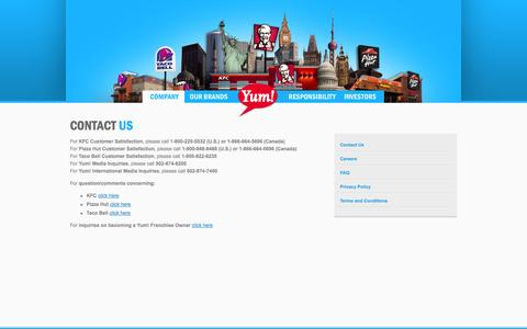Screenshot of Contact Page yum.com - Yum! Brands - Defining Global Company that Feeds the World - captured Sept. 19, 2014