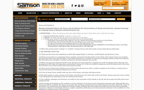 Screenshot of Terms Page samsondoors.co.uk - Terms and Conditions available online from Samson Doors UK - captured Oct. 2, 2018