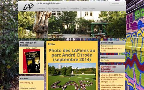 Screenshot of Home Page l-a-p.org - Lycée Autogéré de Paris | L'autogestion comme solution. - captured June 19, 2015