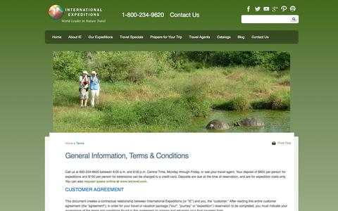 Screenshot of Terms Page ietravel.com - Adventure Travel Terms and Conditions | International Expeditions - captured Sept. 24, 2014