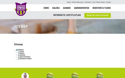 Screenshot of Site Map Page fitnesspalace.nl - Fitness Palace Boulevard | Sitemap - captured Oct. 6, 2014