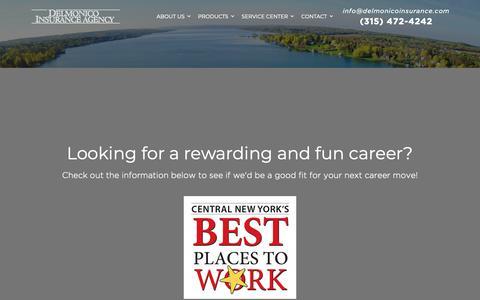 Screenshot of Jobs Page delmonicoinsurance.com - Careers | Delmonico Insurance - captured Oct. 8, 2018