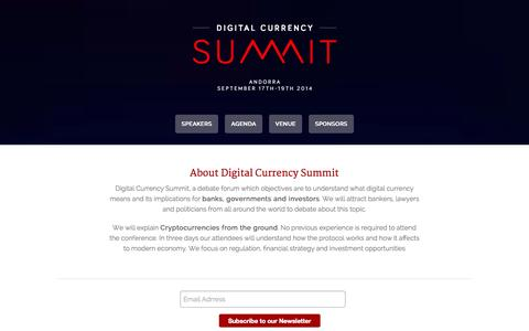 Screenshot of Home Page digitalcurrencysumm.it - Digital Currency Summit Andorra 2014 - captured Oct. 5, 2014