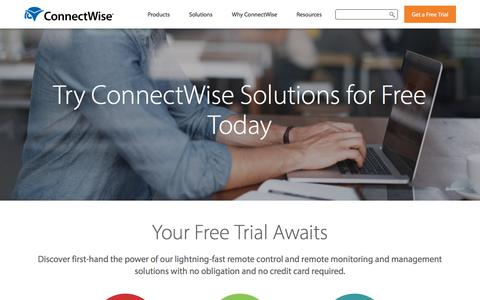 Screenshot of Trial Page connectwise.co.uk - ConnectWise Free Trials | Start Free Trials of Control, Automate, & Unite - captured July 24, 2019