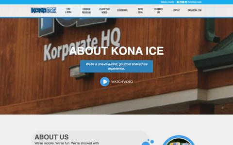 Screenshot of About Page kona-ice.com - About Kona Ice Shaved Ice Truck - captured Jan. 29, 2016