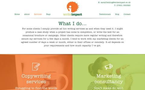 Screenshot of Services Page writeimpact.co.uk - Services | Write Impact - captured Nov. 17, 2018