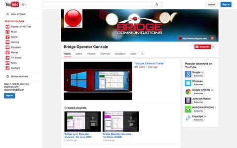 Screenshot of YouTube Page youtube.com - Bridge Operator Console  - YouTube - captured Oct. 25, 2014