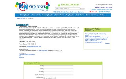Screenshot of Contact Page mnpartystore.com - Contact | M&N Party Store - captured Sept. 30, 2014