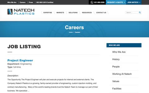Screenshot of Jobs Page natechplastics.com - Careers | Natech - captured Nov. 17, 2018