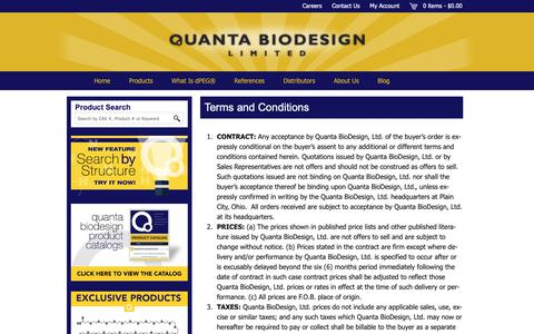 Screenshot of Terms Page quantabiodesign.com - Terms and Conditions - Quanta BioDesign - captured Sept. 29, 2018