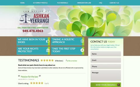 Screenshot of Testimonials Page yeklaw.com - Orange County Immigration Attorney | Testimonials - captured Oct. 2, 2014