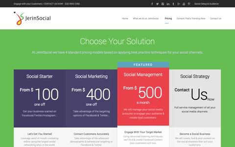 Screenshot of Pricing Page jerinsocial.com.au - Pricing | JerinSocial - captured Sept. 30, 2014
