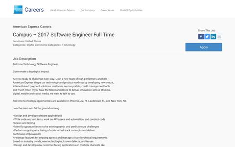 Screenshot of Jobs Page americanexpress.com - Apply For American Express Campus – 2017 Software Engineer Full Time job - Digital Commerce, Technology - United States - captured Dec. 12, 2016