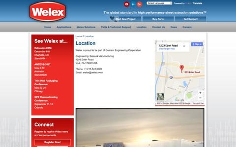 Screenshot of Locations Page welex.com - Extruders & Sheet Extrusion Lines for USA, China, Brazil, Europe, Asia | Welex - captured Dec. 14, 2016