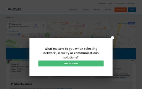 Screenshot of Contact Page gfi.com - Contact us | GFI Software - captured July 3, 2019