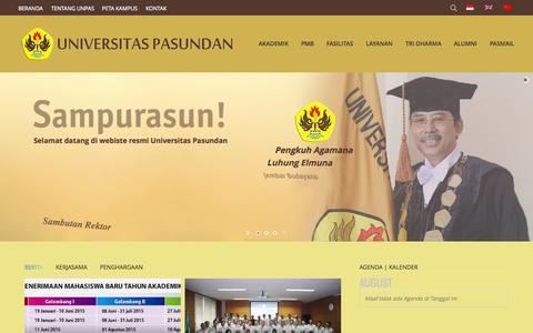 Screenshot of Home Page unpas.ac.id - Home Utama - UNPAS - captured Aug. 9, 2015