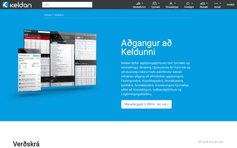 Screenshot of Pricing Page keldan.is - Verðskrá - captured Oct. 15, 2018