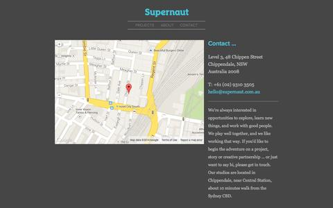 Screenshot of Contact Page supernaut.com.au - Supernaut : Design Studio Sydney, Contact - captured Oct. 8, 2014