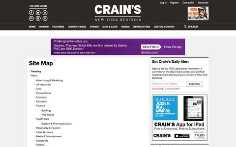 Screenshot of Site Map Page crainsnewyork.com - Site Map   Crain's New York Business - captured Sept. 18, 2014