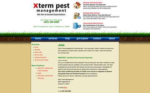 Screenshot of Jobs Page xtermpest.com - Orlando Pest Control / Xterm Pest Management / Jobs - captured Oct. 27, 2014