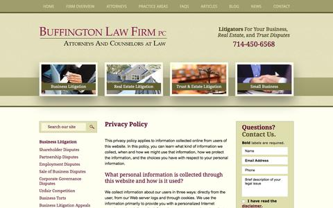 Screenshot of Privacy Page buffingtonlawfirm.com - Privacy Policy | Buffington Law Firm, PC | Orange County, California - captured Oct. 11, 2017
