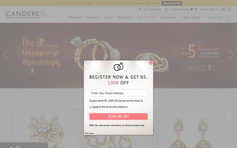 Screenshot of Home Page candere.com - Buy Gold Jewellery Online in India | Online Jewellery Shopping - captured Oct. 21, 2016