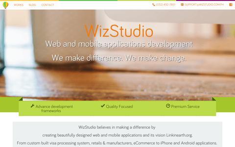 Screenshot of Home Page wiz-studio.com - WizStudio Web Applications Development | iPhone Applications Development | Android Applications Development - captured Jan. 26, 2015