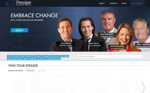 Screenshot of Home Page premierespeakers.com - Premiere Motivational Speakers Bureau - captured Sept. 27, 2015