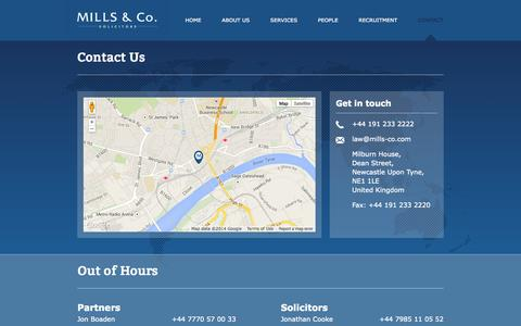 Screenshot of Contact Page mills-co.com - Get in touch and find us | Mills & Co. - captured Sept. 30, 2014