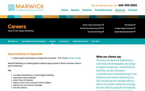 Screenshot of Jobs Page marwickmarketing.com - Digital Marketing Agency Employment - Marwick Marketing - captured June 17, 2019
